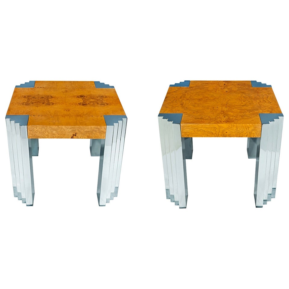 Pair of Olive Ash Burl Wood Side Tables by Pace 1