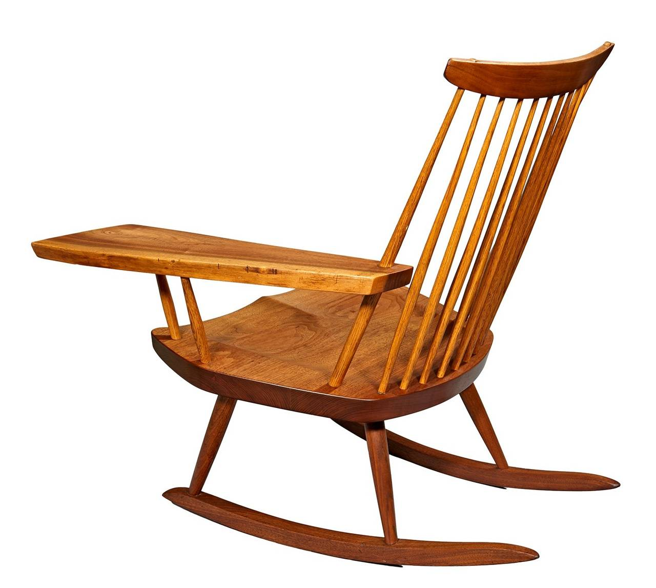 rocking chair with free edge arm by george nakashima at