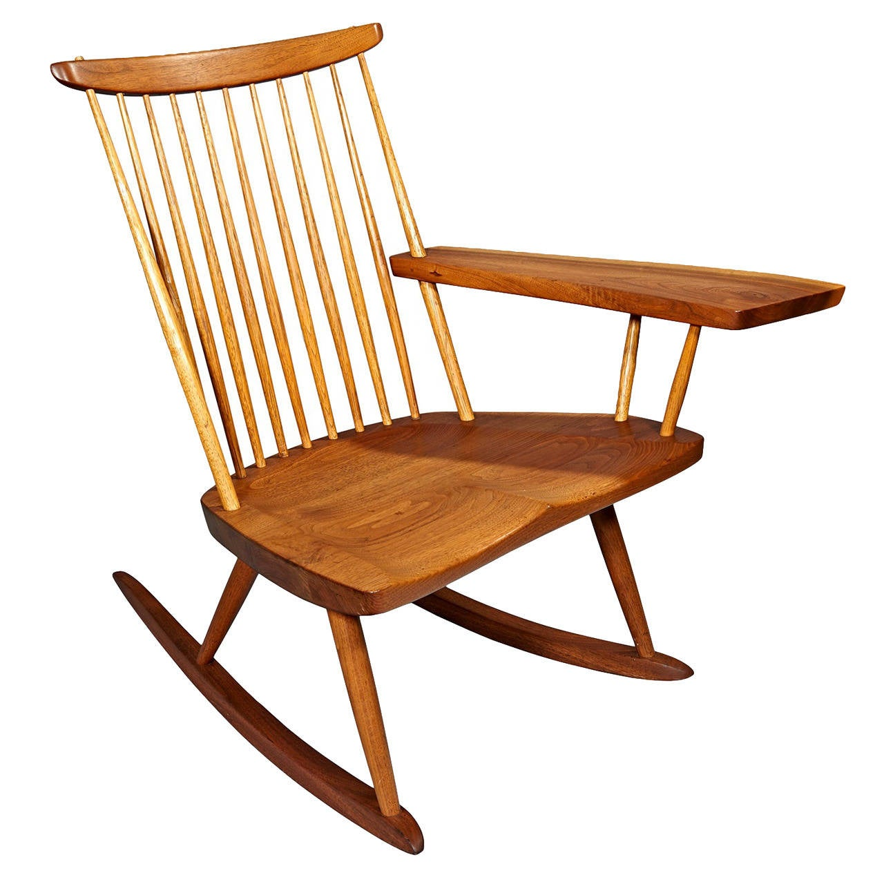 Rocking Chair with Free-Edge Arm by George Nakashima For Sale