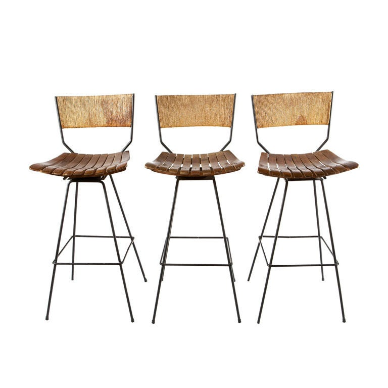Set Of Three Arthur Umanoff Bar Stools At 1stdibs