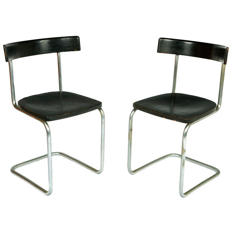 Pair of Early Cantilever Chairs For Sale