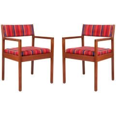 Pair of George Nelson Armchairs with Alexander Girard Upholstery