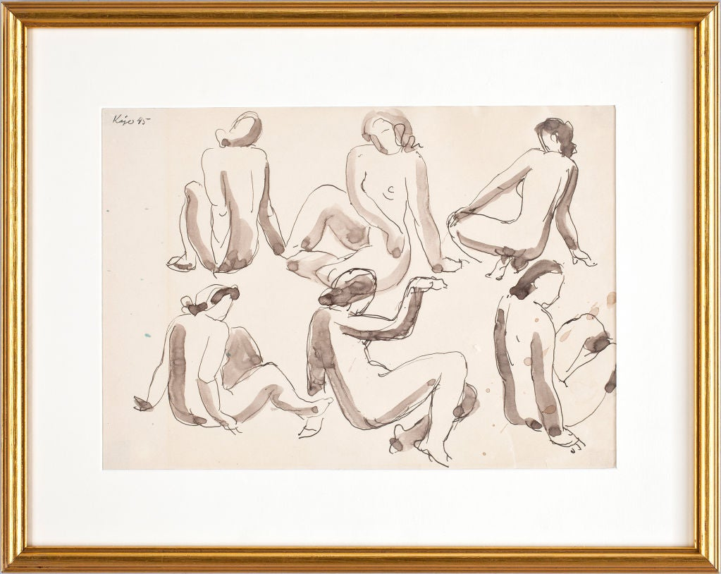 This study of nudes, an original drawing in pen and ink and wash, was completed by Kage in 1945. Though best known as one of Sweden's greatest ceramists, Wilhelm Kage (1889-1960) began as a painter, studying in Paris under Henri Matisse. When he