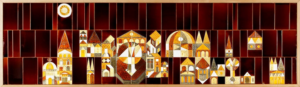 """French """"Le Village"""" Ceramic Mural by Roger Capron For Sale"""