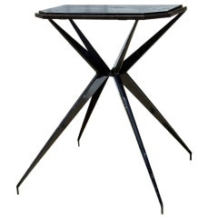 "French ""Prouvésque"" Metal Table with Compass Legs"
