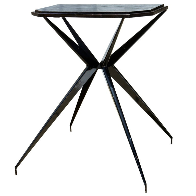 "French ""Prouvésque"" Metal Table with Compass Legs For Sale"