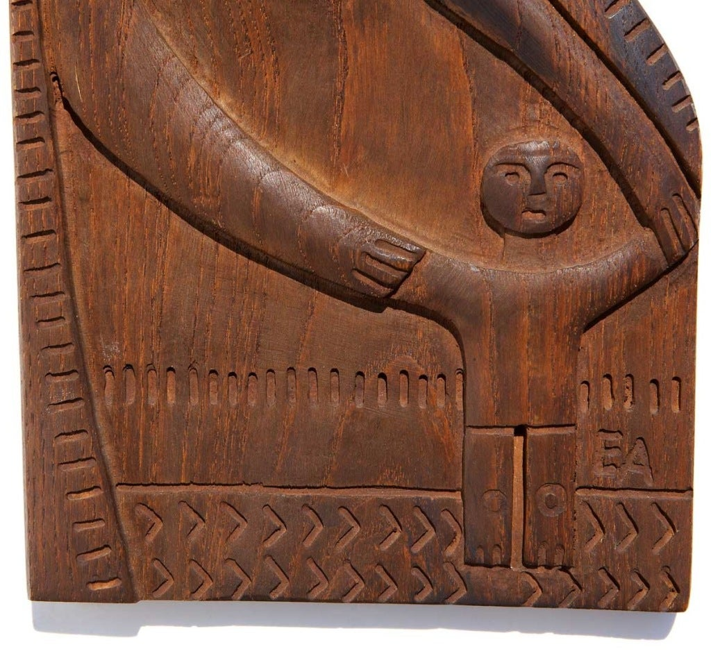 American Early and Rare Carved Wood Panel by Evelyn Ackerman