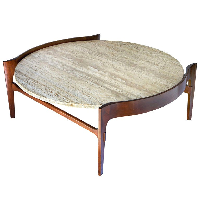 Travertine And Walnut Coffee Table By Bertha Schaefer At 1stdibs