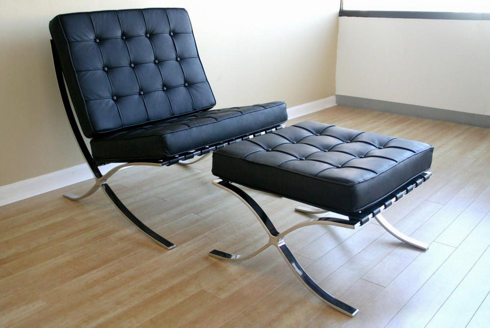 pair of mies van der rohe barcelona style lounge chairs. Black Bedroom Furniture Sets. Home Design Ideas