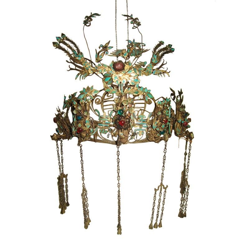 Qing Dynasty Chinese Provencial Kingfisher Headdress At