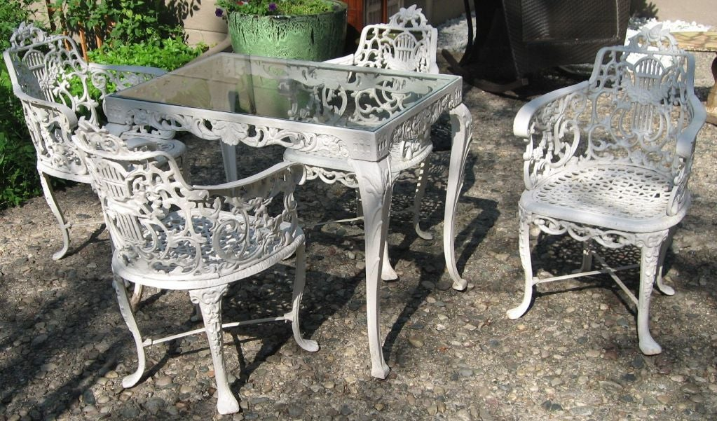 Magnificent antique neoclassical cast iron garden set at Cast iron garden furniture