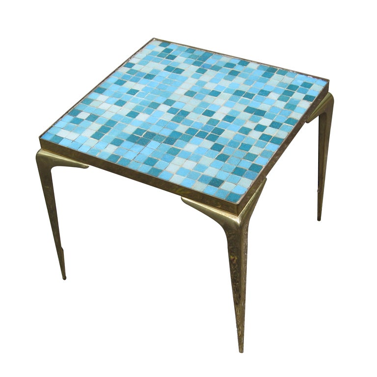 Mid Century Modern Glass Mosaic Tile Top Table At 1stdibs