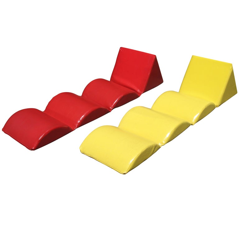 French 1960 s Roll Up Beach Chaise Lounge Chairs at 1stdibs