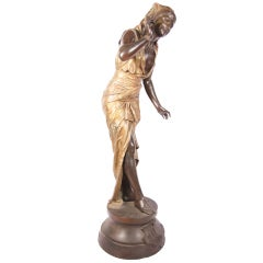 Louis Hottot  Giant Cold Painted Spelter Figural of Echo