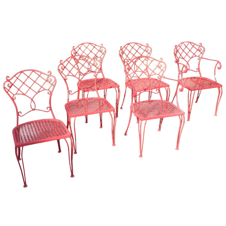Molla Designed Outdoor Garden Set Table And Six Chairs At