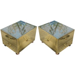 Pair of Sarreid Limited Campaign Style End Tables