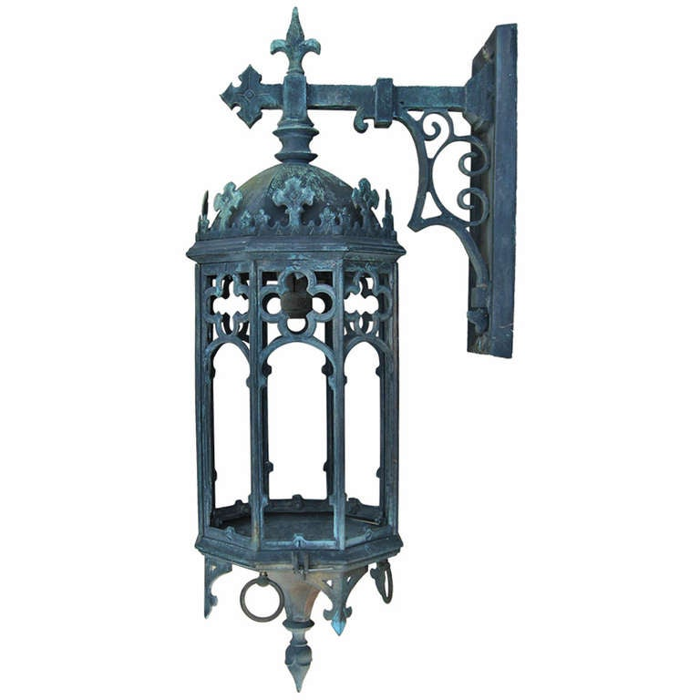 Large Antique Bronze Gothic Revival Lantern At 1stdibs