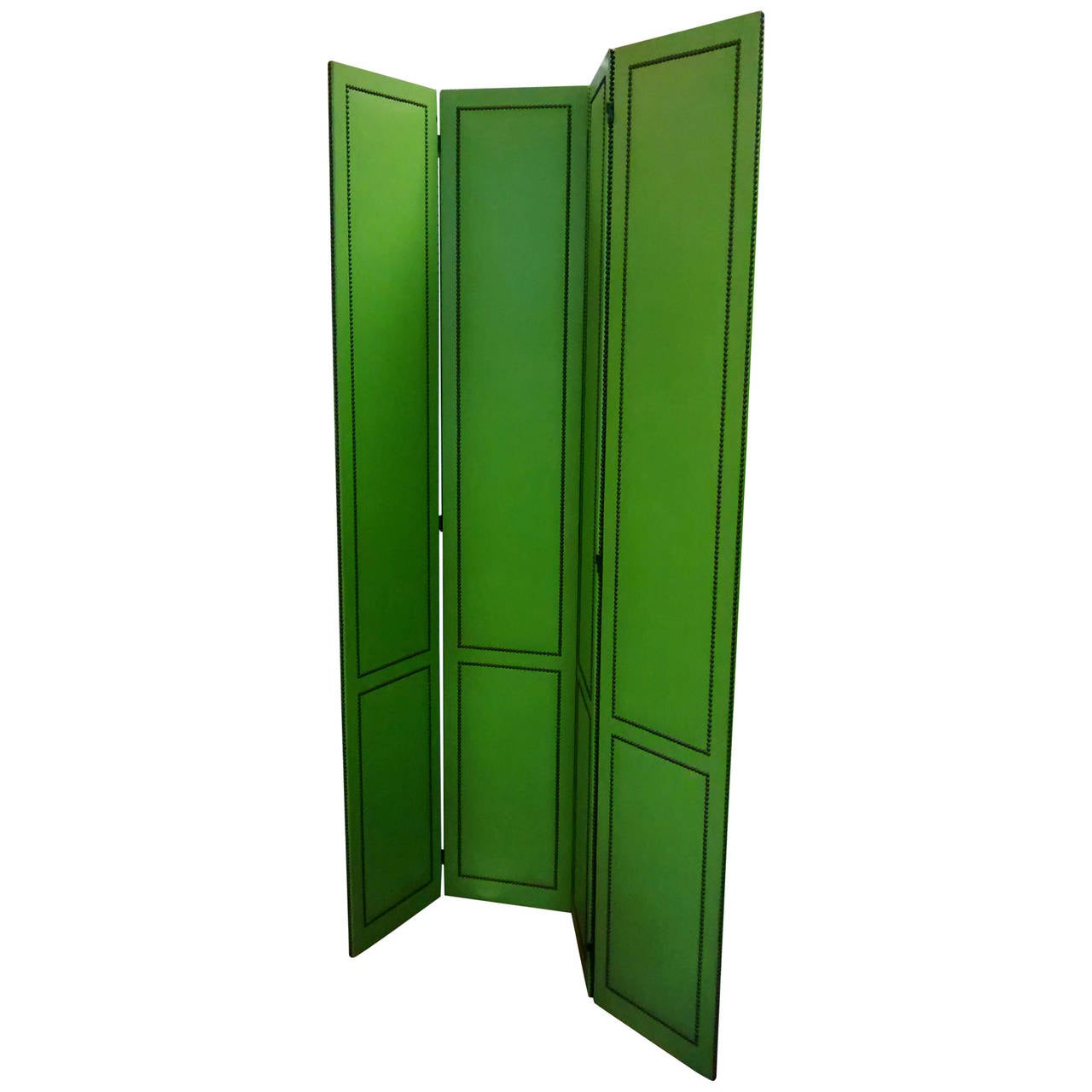 Giant vinyl and brass studded four panel screen or room - Plastic room divider screen ...
