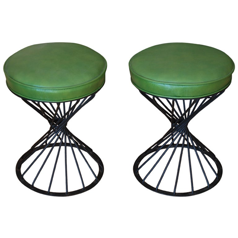Pair Of Amazing Round Wrought Iron Stools At 1stdibs