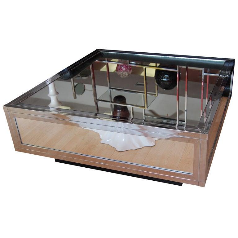 Milo Baughman Mirrored And Chrome Coffee Table At 1stdibs
