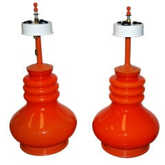 PAIR OF BRIGHT ORANGE LIGHTOLIER GLASS LAMPS