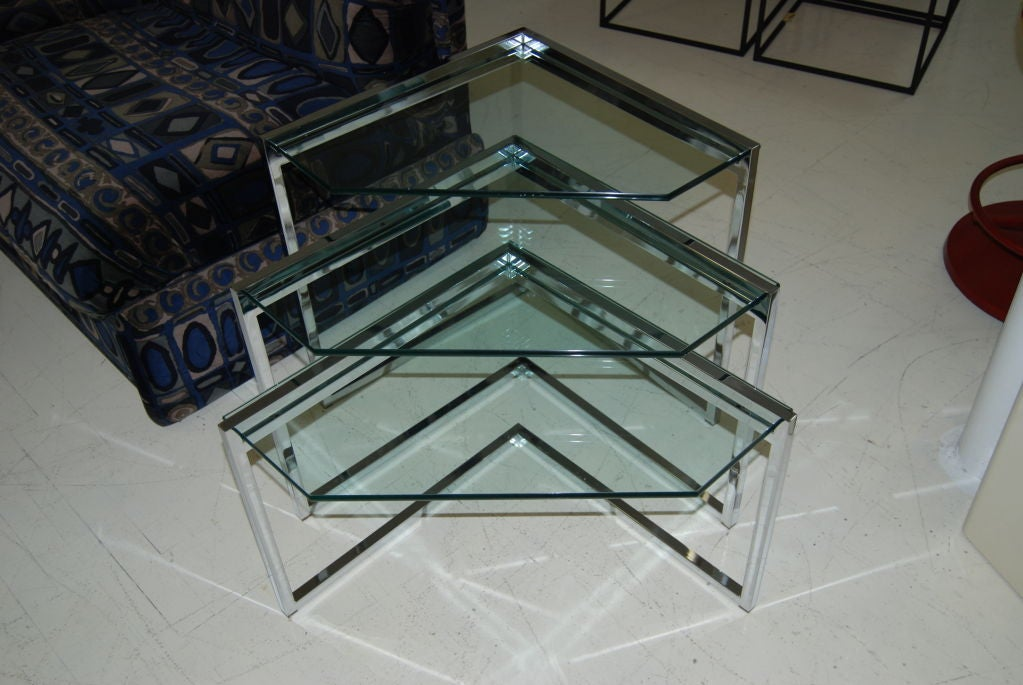 Polished Steel Nesting Tables 2