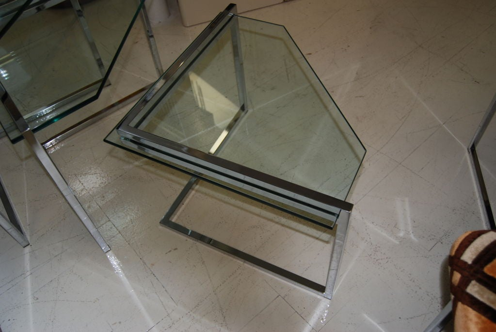Polished Steel Nesting Tables 3