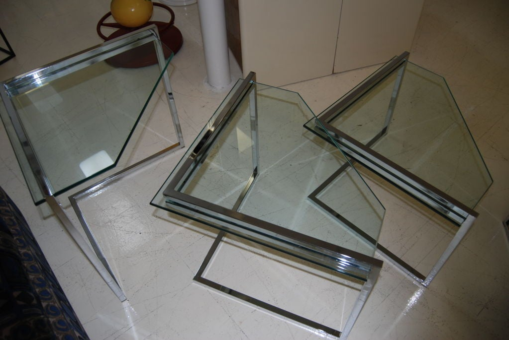 Polished Steel Nesting Tables 4