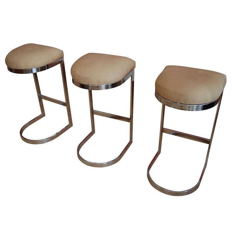 Set Of Three Milo Baughman Barstools At 1stdibs