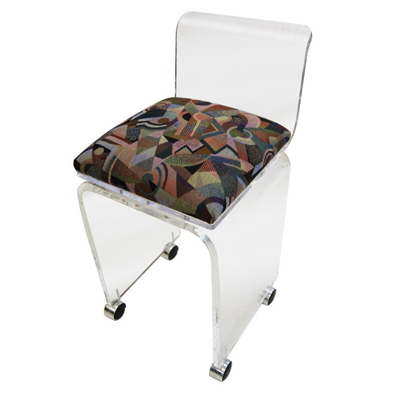 WATERFALL LUCITE VANITY DESK CHAIR WITH SWIVEL SEAT at