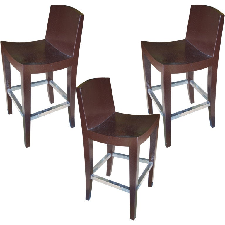 Set Of Three Signed Stamped Leather Ostrich Bar Stools At
