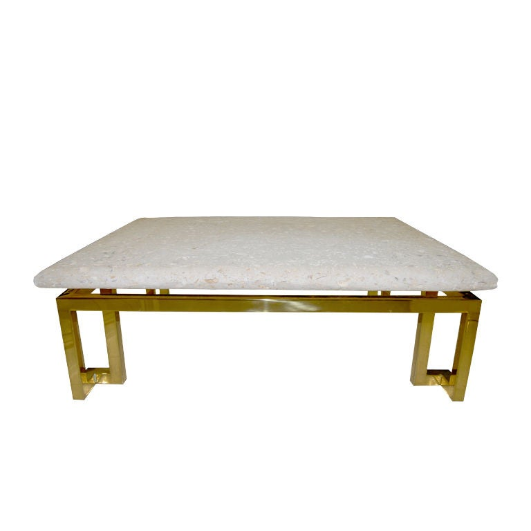 wonderful natural coquina stone top coffee table at 1stdibs