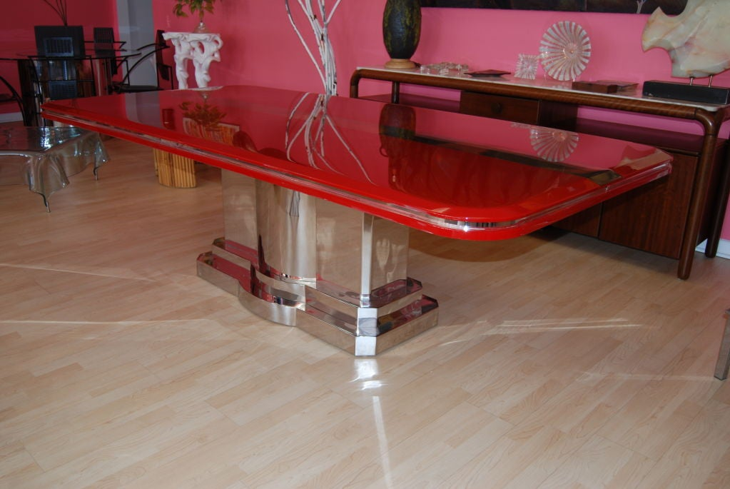 INCREDIBLE CANDY APPLE RED AND POLISHED STEEL DINING TABLE  : 809613219105851 from www.1stdibs.com size 1023 x 685 jpeg 84kB