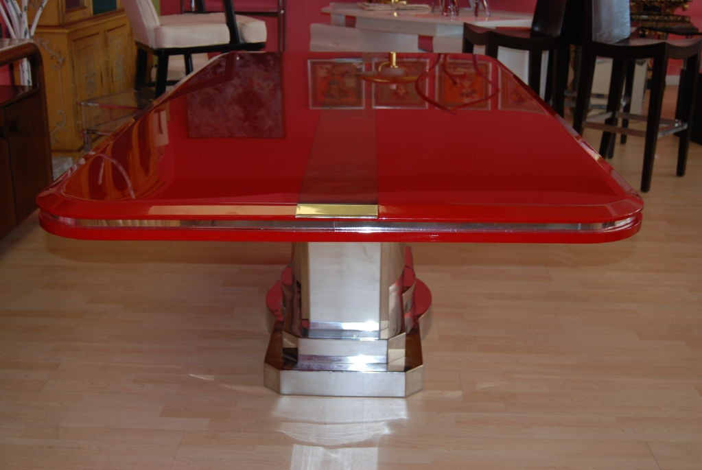 INCREDIBLE CANDY APPLE RED AND POLISHED STEEL DINING TABLE  : 809613219105852 from 1stdibs.com size 1023 x 685 jpeg 66kB