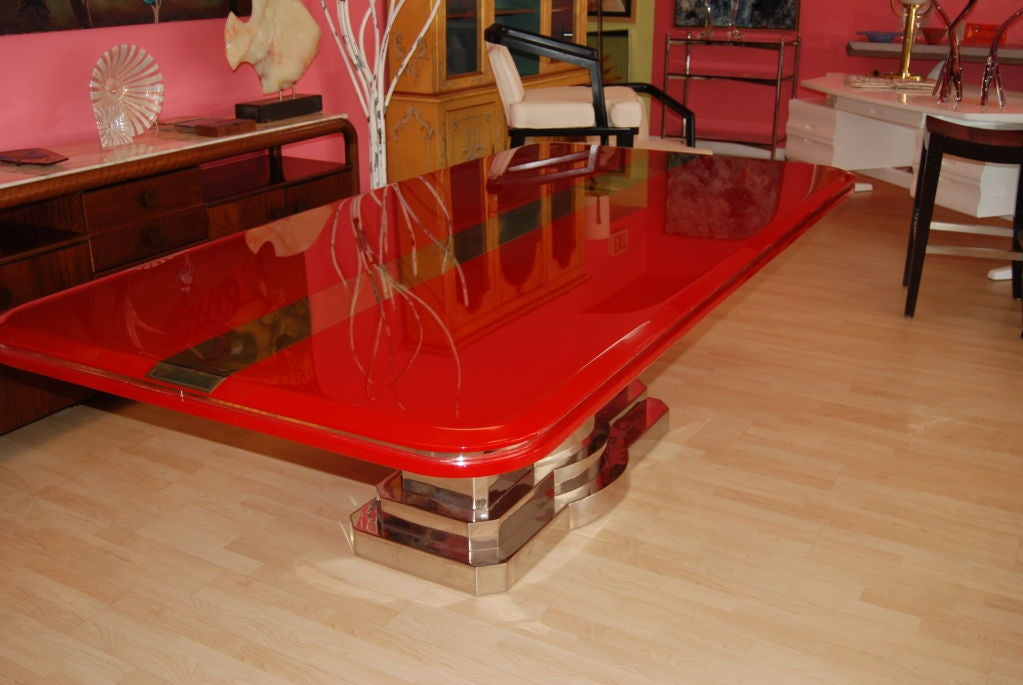 INCREDIBLE CANDY APPLE RED AND POLISHED STEEL DINING TABLE  : 809613219105853 from 1stdibs.com size 1023 x 685 jpeg 85kB