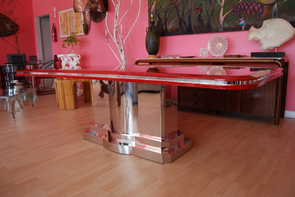 INCREDIBLE CANDY APPLE RED AND POLISHED STEEL DINING TABLE  : 809613219105854 from 1stdibs.com size 1023 x 685 jpeg 97kB