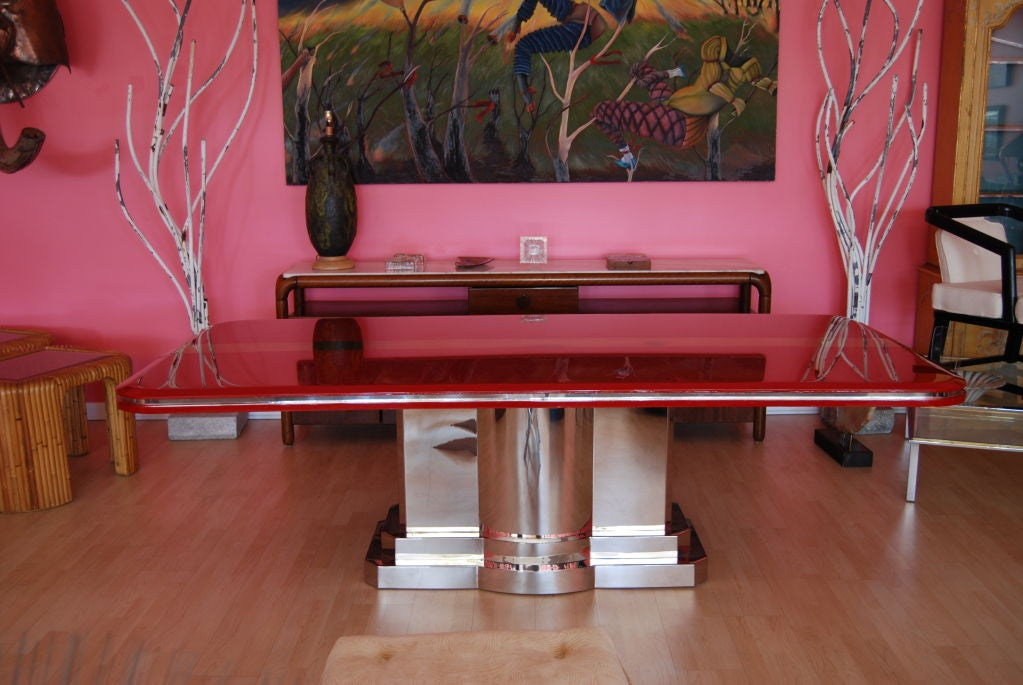 INCREDIBLE CANDY APPLE RED AND POLISHED STEEL DINING TABLE  : 809613219105858 from 1stdibs.com size 1023 x 685 jpeg 97kB