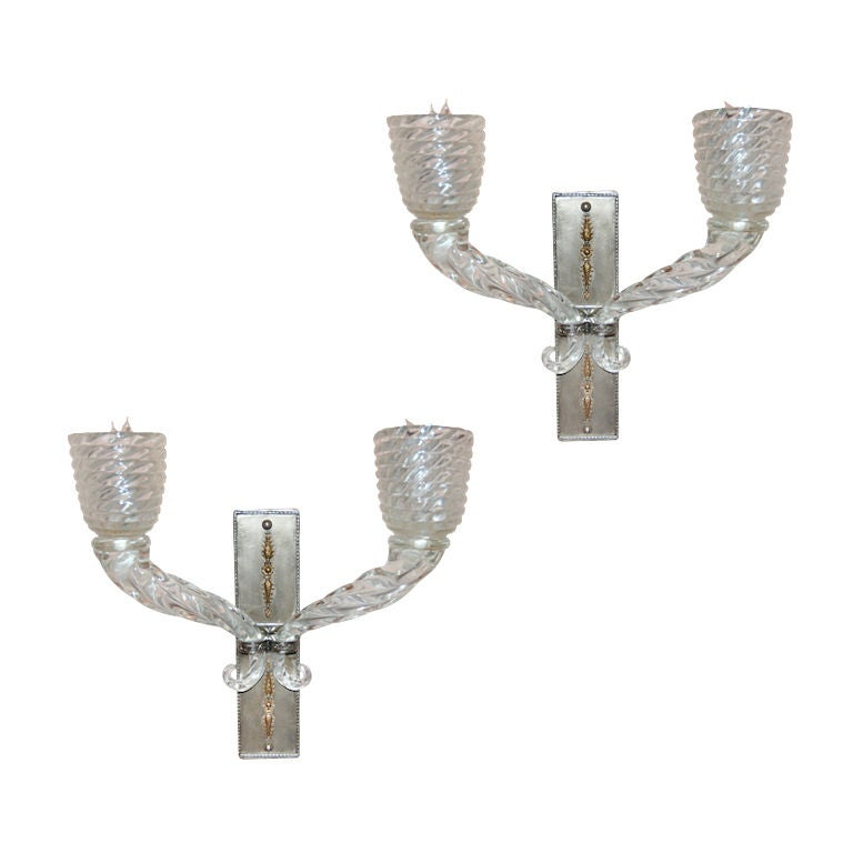ELEGANT PAIR OF MURANO GLASS WALL SCONCES BY BAROVIER At
