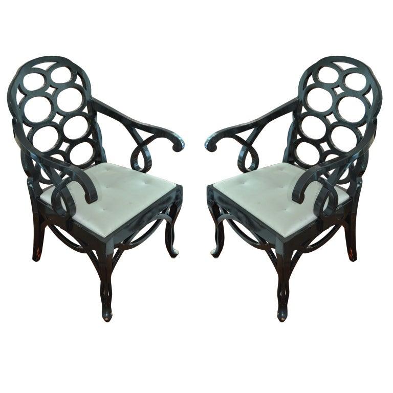Pair of Frances Elkins Loop Back Armchairs 1
