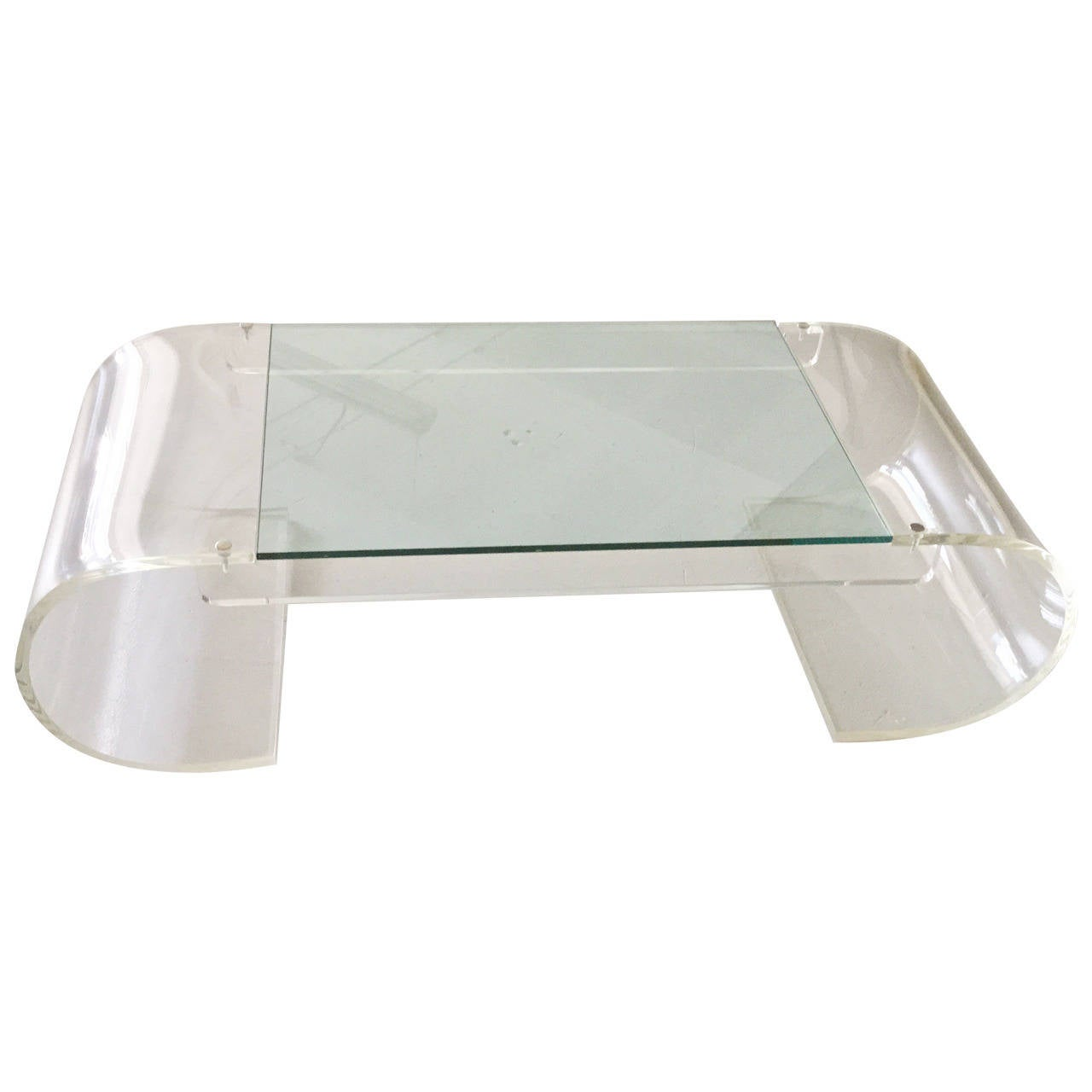 Lucite And Glass Coffee Table At 1stdibs