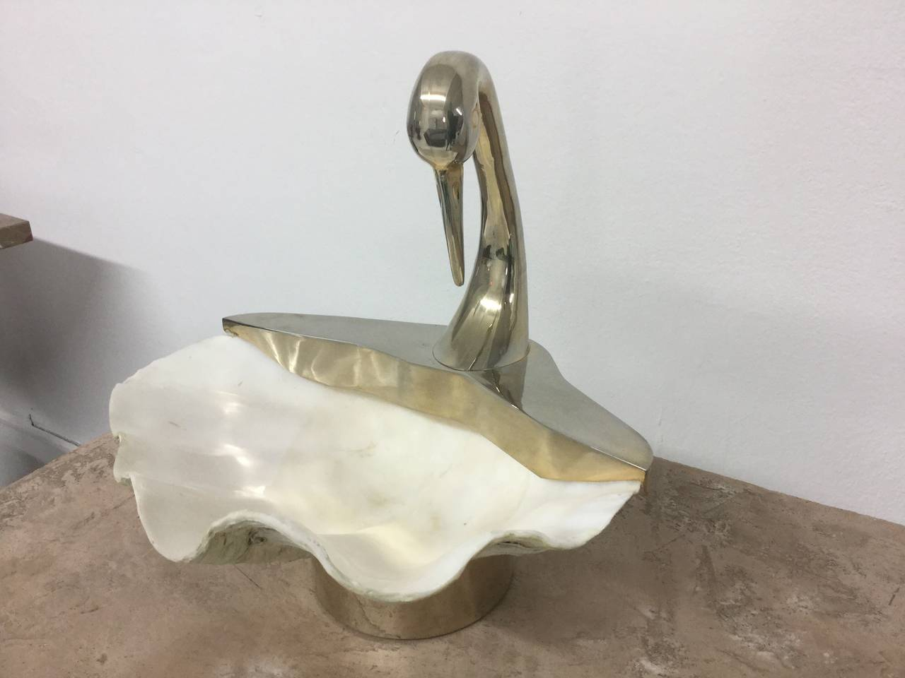 Swan Sculpture with Natural Clam Shell Bowl 2
