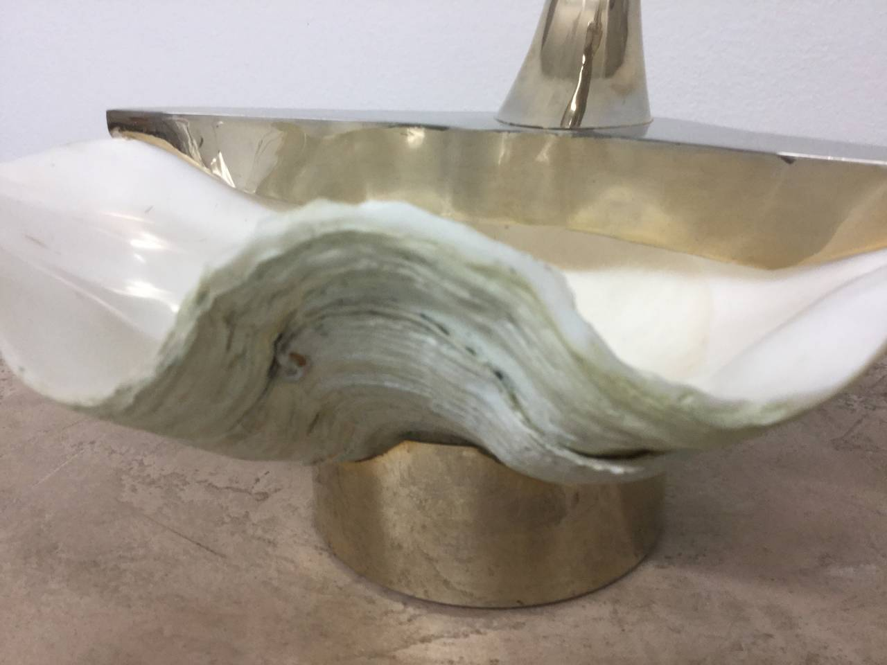 Swan Sculpture with Natural Clam Shell Bowl 3