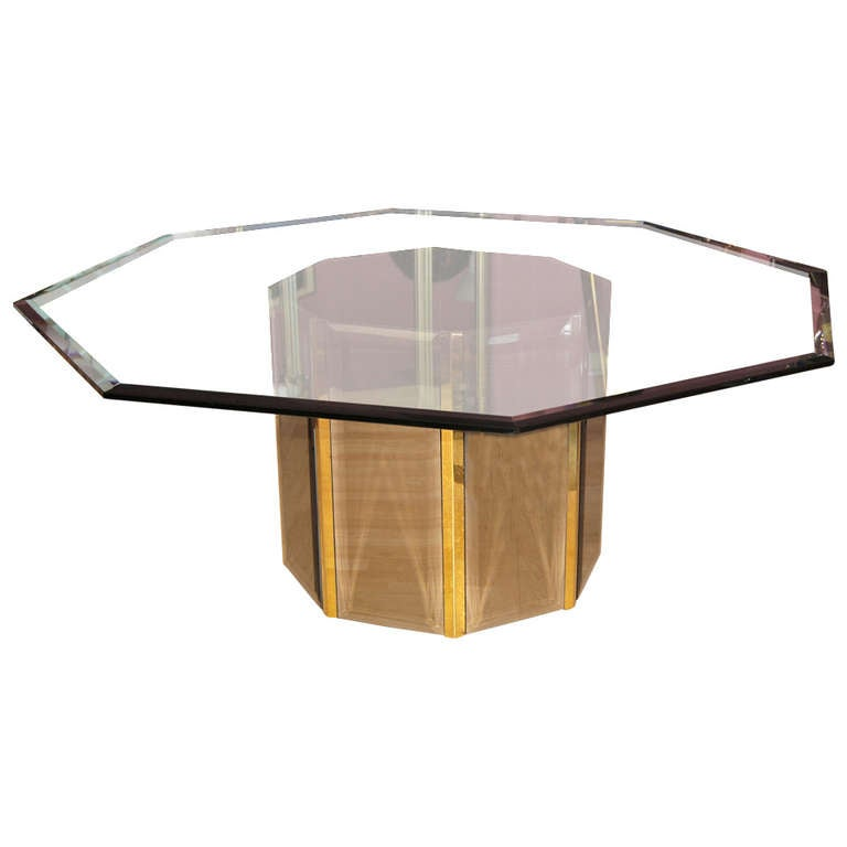 Octagon Dining Room Table with a Mirrored and Brass Panel Base at ...