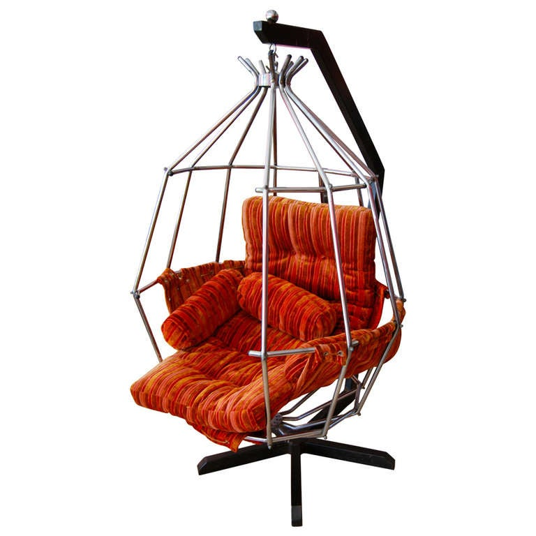 Iconic swedish hanging birdcage parrot chair by ib auberg
