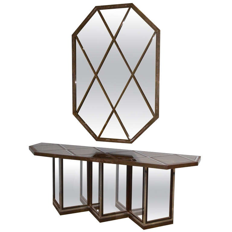 Romeo Rega Mixed Metal Mirror and Console Table 1