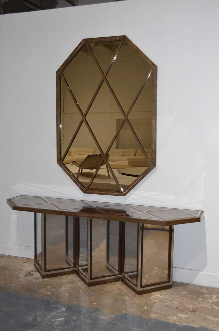 Romeo Rega Mixed Metal Mirror and Console Table 2