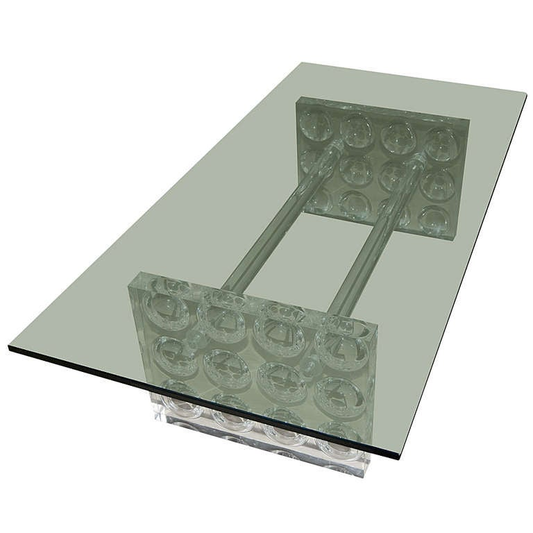 Incredible Clear Thick Lucite Coffee Table With Glass Top At 1stdibs