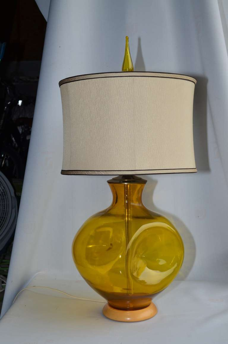 Pair of Wayne Husted Designed Blenko Lamps For Sale at 1stdibs