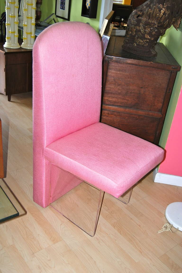 Set Of Six Dining Room Chairs With Lucite Bases For Sale
