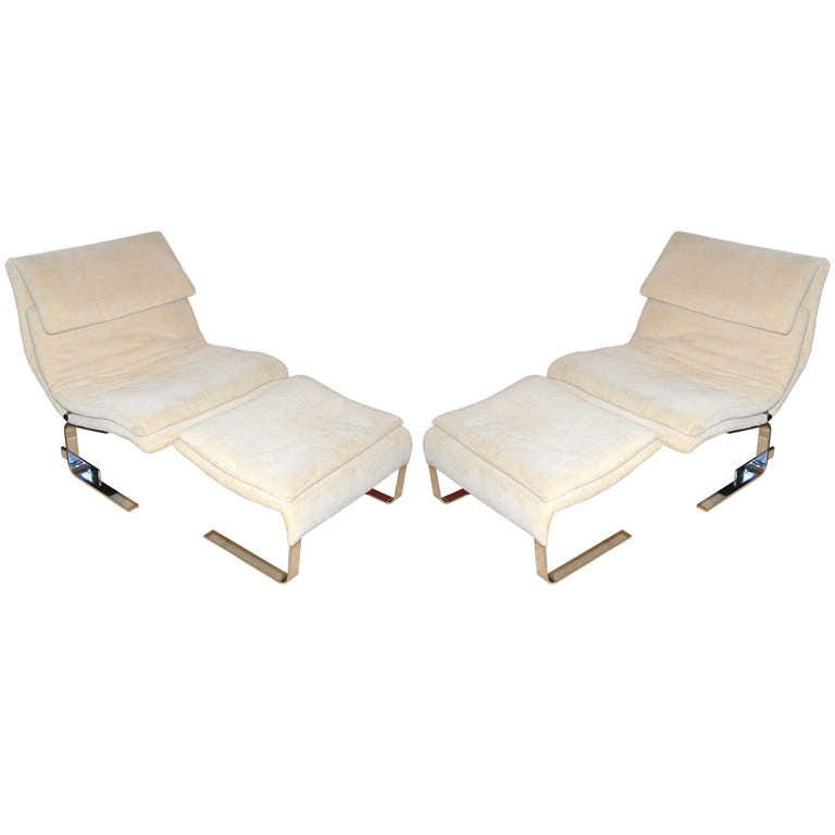 """Onda Chair And Ottoman In Missoni Fabric By Giovanni: Pair Of 1977 Saporiti """"Onda"""" Lounge Chairs With Ottomans"""